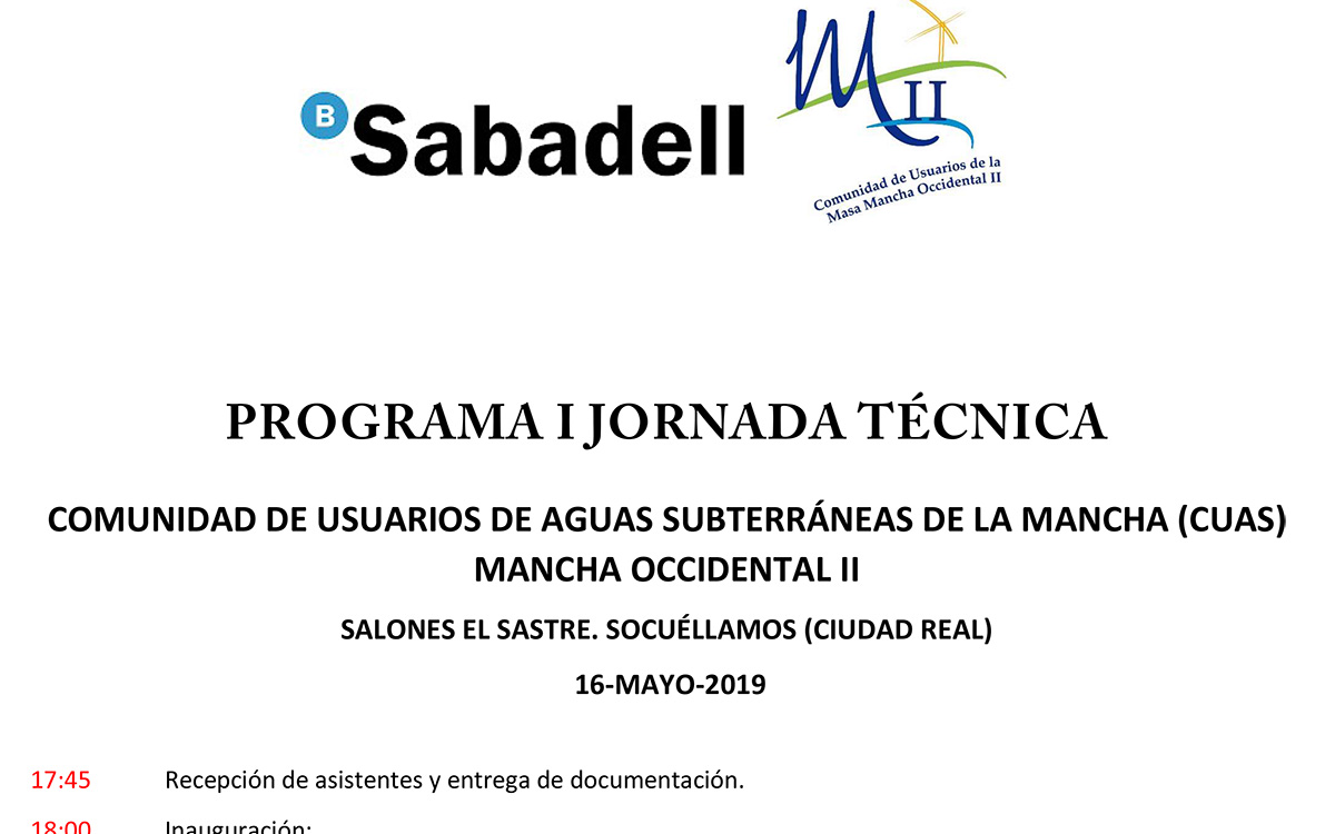 Mancha Occidental II celebrará su primera jornada técnica sobre aguas subterráneas en Socuéllamos